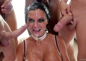 Jasmine getting nasty facial cumshot in group sex porn