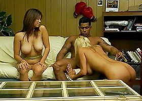 Amazing interracial threesome bang in the motel hall