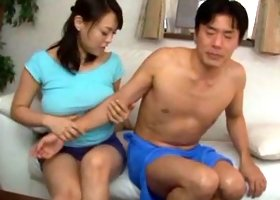 Business man enjoys a  and the boobs of Reiko Nakamori