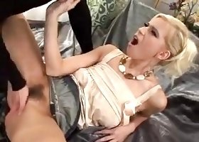 Skinny blonde with hairy pussy takes a thick dick