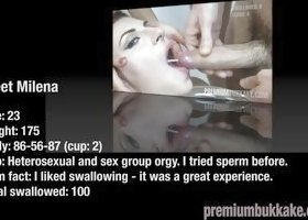 Milena Swallows 50 Huge Mouthful Cumshots