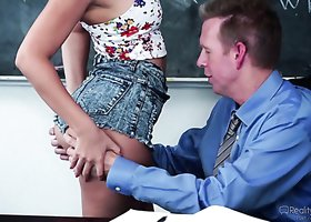 Lovely college student fucked brutally by perverted horny teacher