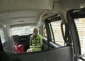 Short haired British blonde drills in fake taxi