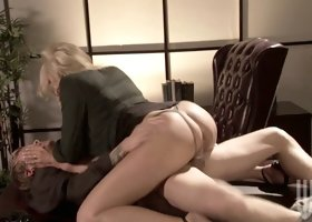 Gorgeous blonde milf Stormy Daniels fucks in the office