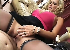 Lusty cougar in black stockings Milan is banged by well-hung lecher