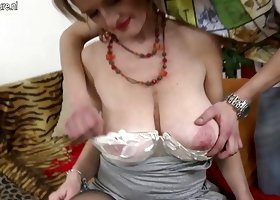 Mature horny mom makes taboo love with young son