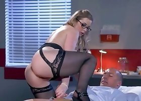 Gorgeous blonde whore in sexy stockings banged rough