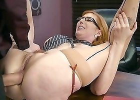 Gigantic dick fills out tight anal hole of a redhead mommy