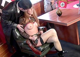 Nazi officer fucks two super hot army babes hard in the ass