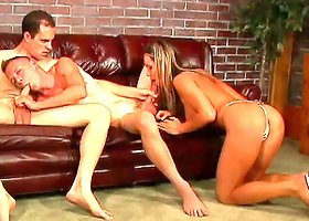 Dirty Older Guy Fucks A Bisexual Hunk And His Gorgeous Girlfriend