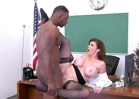 Mature enjoys black thug cock in serious classroom fuck