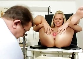 Horny doc examing her tight holes