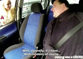 Czech picked up whore gives eager blowjob in the car