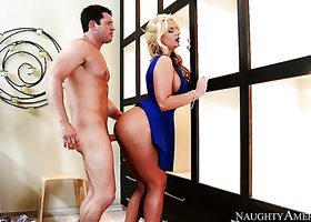Stunning blond bombshell Phoenix Marie enjoyed hard doggy fuck with cute Preston Parker