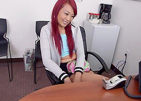 Kinky Asian with dyed hair gets her pussy fucked deep