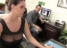 Alison Tyler relieves his stress at work with an office handjob