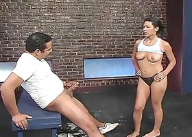 Wicked girl Cassandra Cruz humiliates a guy in the locker room