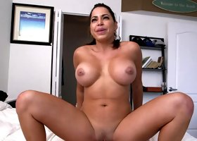Curvy Latina darling with a big butt rides a huge dick in POV