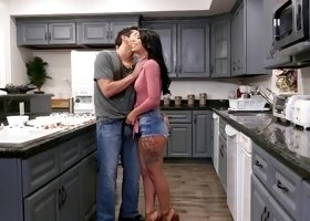 Gina Valentina fucked hard in a kitchen by a nasty lover