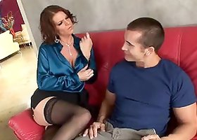 Kayla Quinn the busty MILF babe gets fucked on a sofa