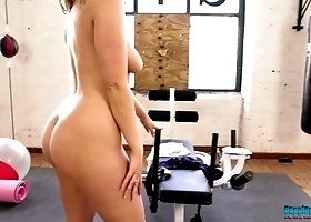 Sport babe Millie Rose takes off her clothes at the gym