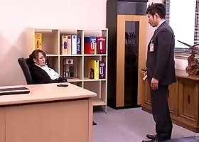 Awesome breasty Japanese MILF Hitomi Tanaka ride a dildo at work