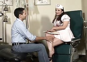 Booty brunette nurse violates her patient's ass