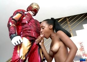 Iron Man costume on dude banging her hard
