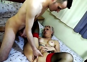 Horny granny sucks and sits on his young dick