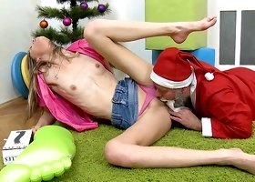 Hot chick Lola is fucking with a Santa