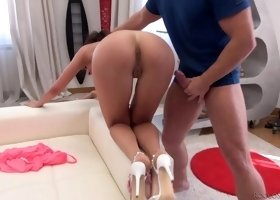Slender babe Milky Love goes all out during her first porn casting
