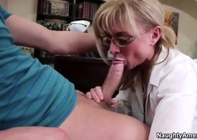 Hot shaved experienced woman Nina Hartley is sucking cock