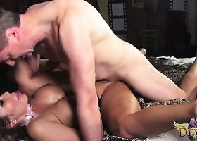 Ava Devine gets banged from behind, on her back, and sucks him off