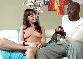 Lexington Steele talks to pretty naked brunette Dana Dearmond