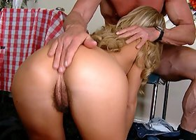 Peter North lets awesome blonde Bree Olson take a ride on his wang