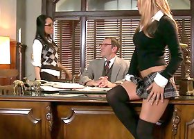 Two sizzling coeds get fucked by a dean in his office