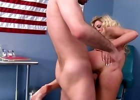 Big-ass blonde enjoys her lovely doctor in doggy style pose