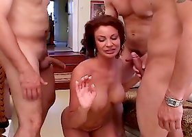 Salcious Vanessa Videl having sex with three insatiable guys