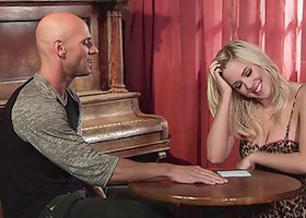BiBi Jones gets her shaved pussy slammed by bald guy