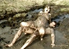 Diane gets down and dirty in the mud and rides his filthy pecker