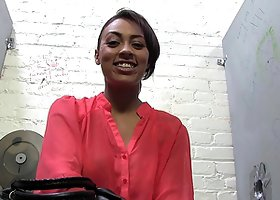 Backstage solo clip of Cherry Hilson showing her big fake tits
