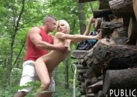 Blonde Czech babe flashes her perky tits and gets her pussy fucked by stranger in the woods for money