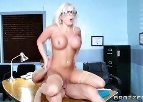 lady boss with big ol titties savannah stevens handles a big dick