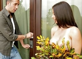 Busty Brunette Mom Locked Out
