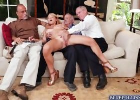 Raylin Ann bends over and Duke start fucking her pussy from behind doggystyle while Frankie is feeding her with his old cock at the same time Raylin i
