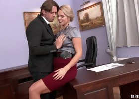 Hard cock riding at the office with the bootylicious blonde worker